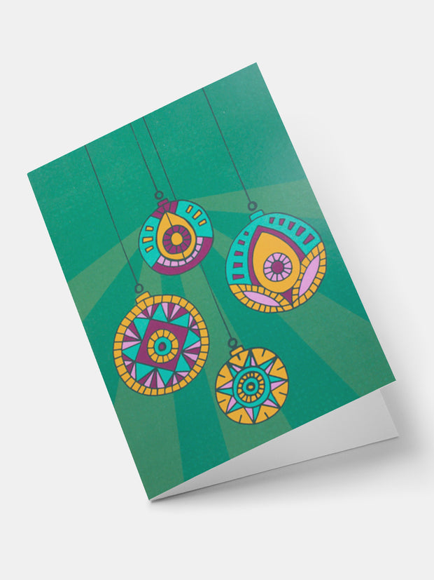 Lulu Patterned Baubles Greeting Cards - Green