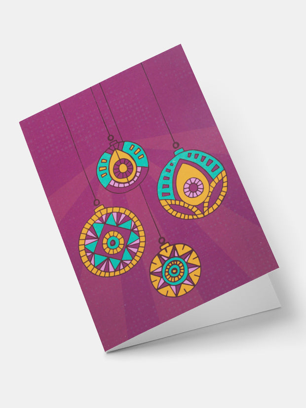 Lulu Patterned Baubles Greeting Cards - Purple