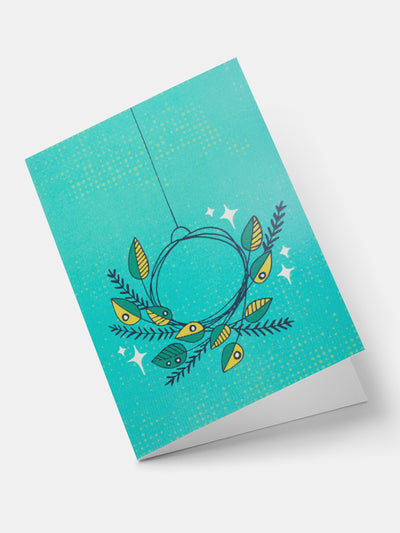 Lulu Festive Wreath Greeting Cards - Turquoise