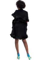 Rokens Collection Double Layered Fur Poncho - Black