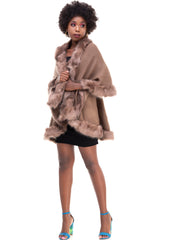 Rokens Collection Double Layered Fur Poncho - Brown