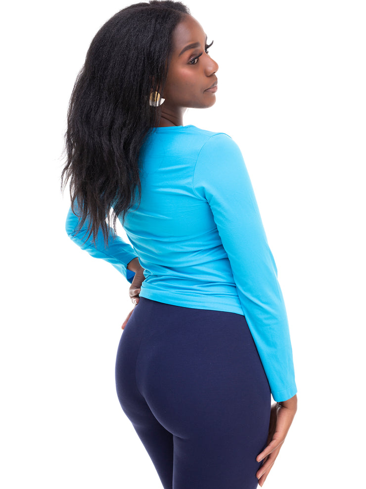Rokens Collection Long Sleeved Spandex Top - Sea Blue