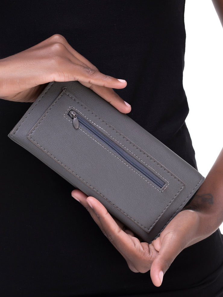 Rokens Collection Leather Wallet - Grey