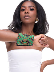 Tsai Maasai Larah Beaded Leather Cuff - Green / Black