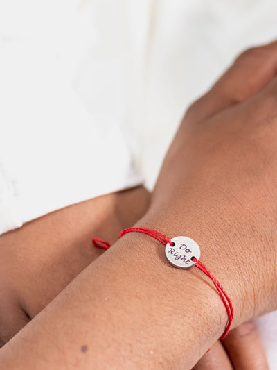 Do Right - Silver Bracelet - Red