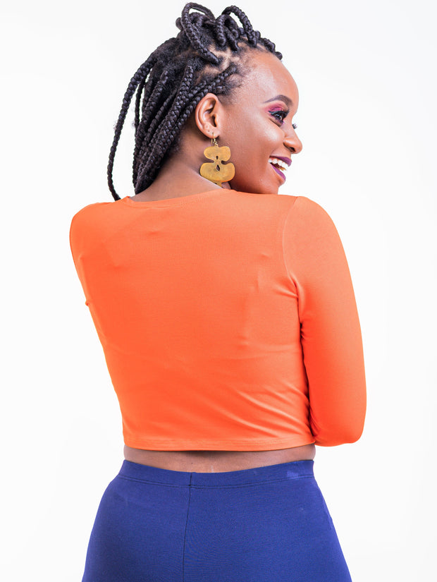 Zetu Long Sleeved Crewneck Crop Top - Orange
