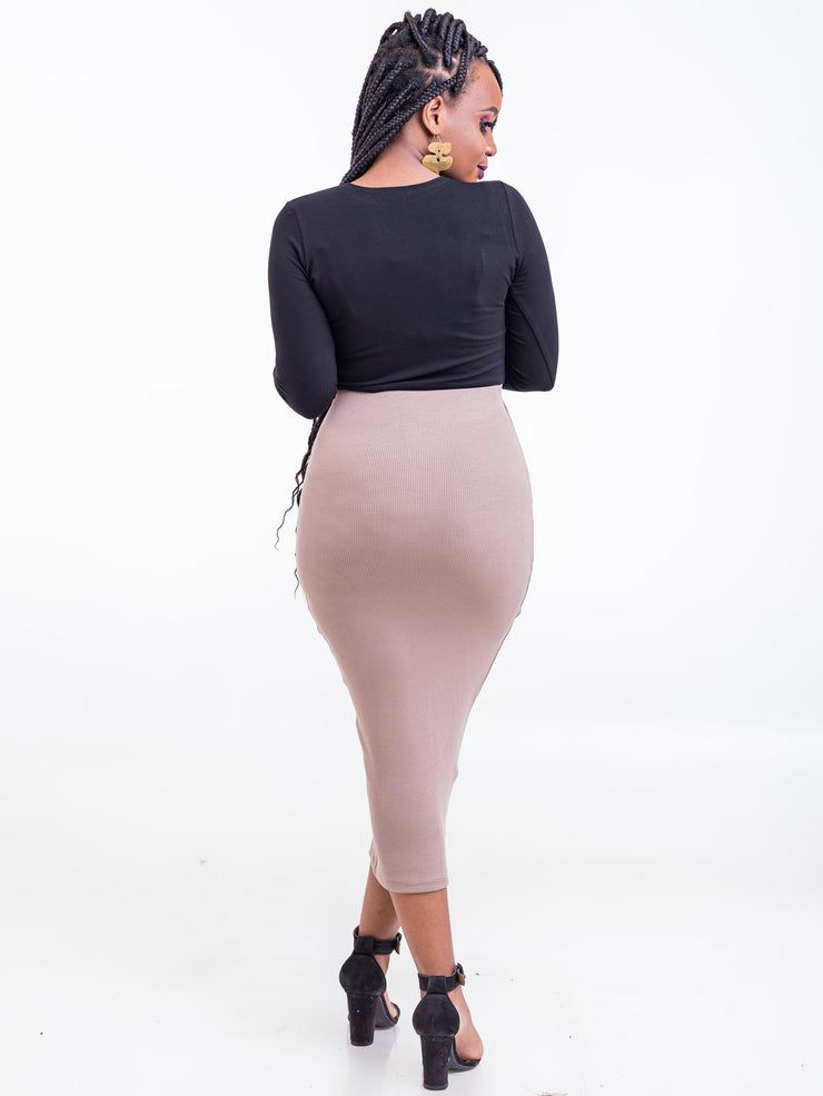 Zetu Ribbed Midi Pencil Skirt - Taupe