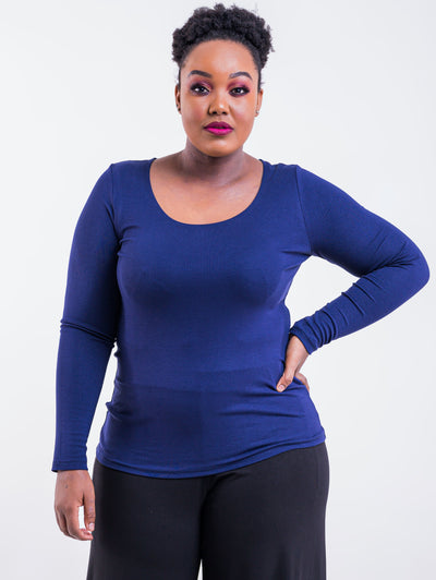 Vivo Tulia Long Sleeve Top - Navy - Shop Zetu