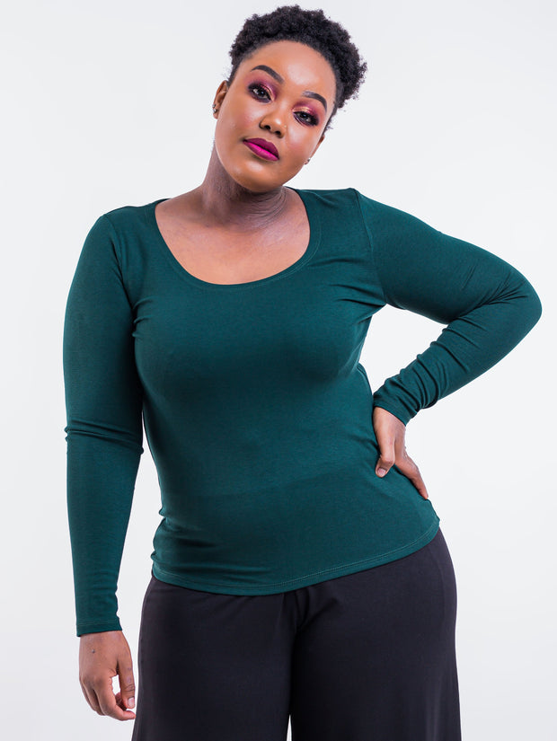 Vivo Tulia Long Sleeved Top -  Dark Green - Shop Zetu
