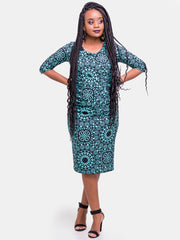 Vivo Side Twist Dress - Blue Print