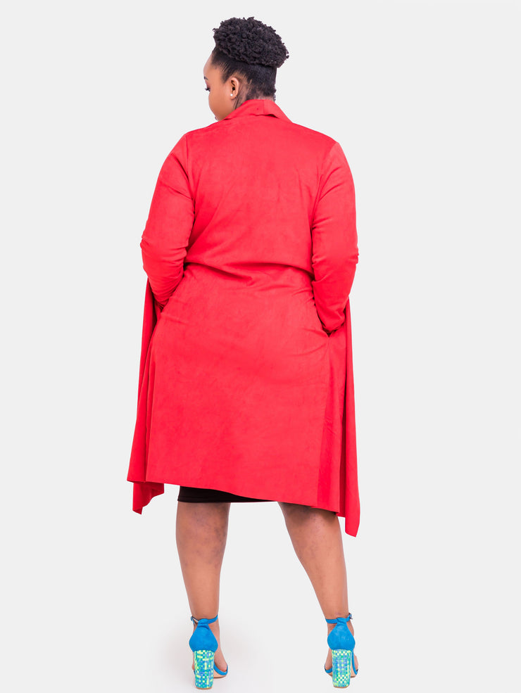 Vivo Long Sleeved Faux Suede Jacket - Red