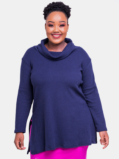Vivo Tuni Rib Top - Navy Blue - Shop Zetu