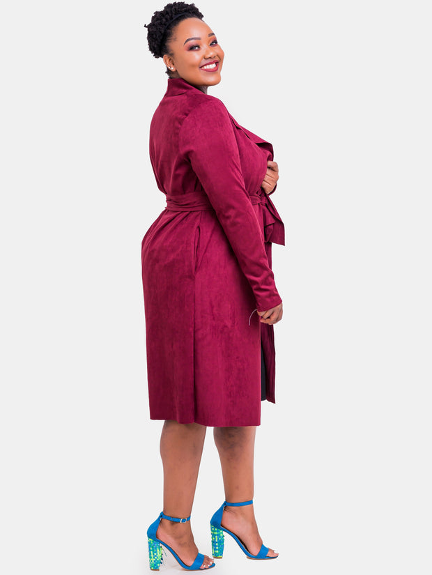 Vivo Long Sleeved Faux Suede Jacket - Maroon - Shop Zetu