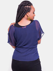 Vivo Val Chiffon Top - Navy Blue