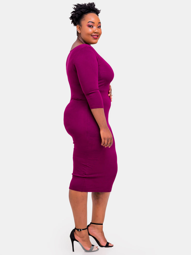 Vivo 3/4 Sleeve Leila Bodycon Dress - Burgundy