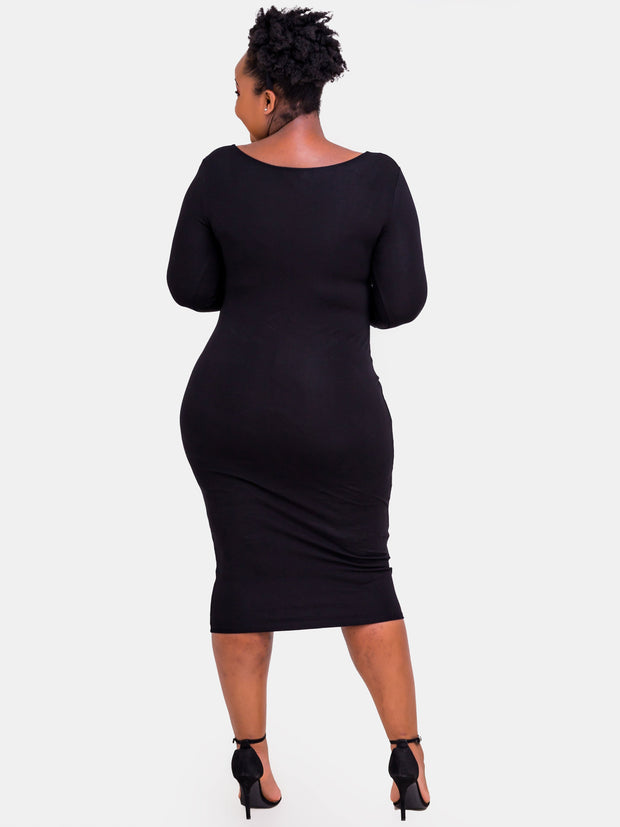 Vivo 3/4 Sleeve Leila Bodycon Dress - Black