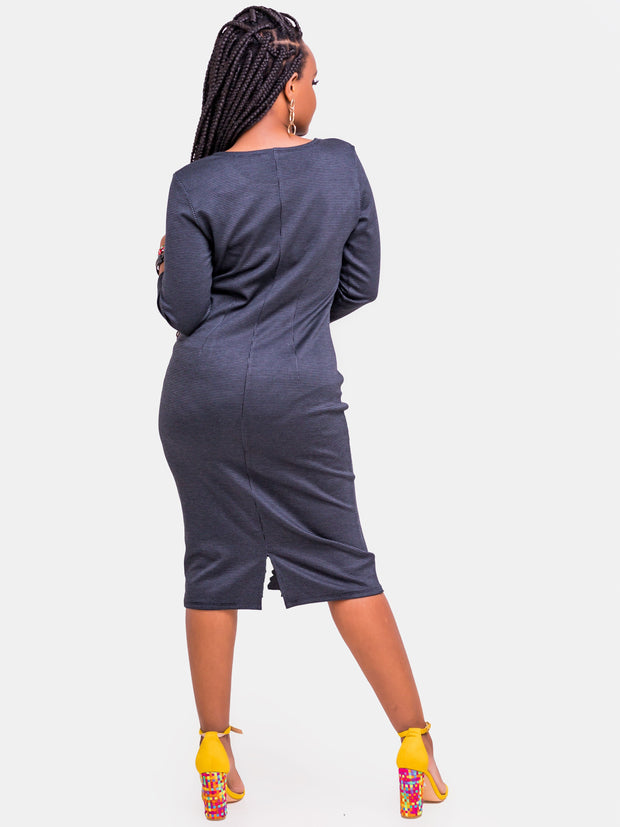 Vivo Zuri 3/4 Sleeve Dress - Grey Print