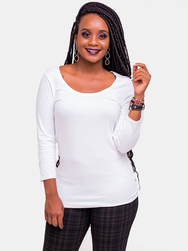 Vivo Tulia Long Sleeve Top - White - Shop Zetu