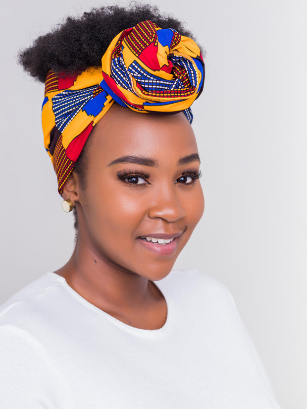 Nywele Chronicles Kente Wrap - Mustard Print