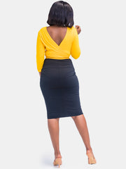Sowairina Zara Pencil Skirt - Black/Mustard