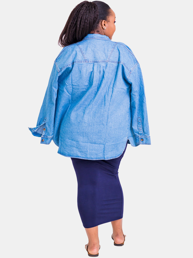Velvet Denim Shirt - Blue - Shop Zetu
