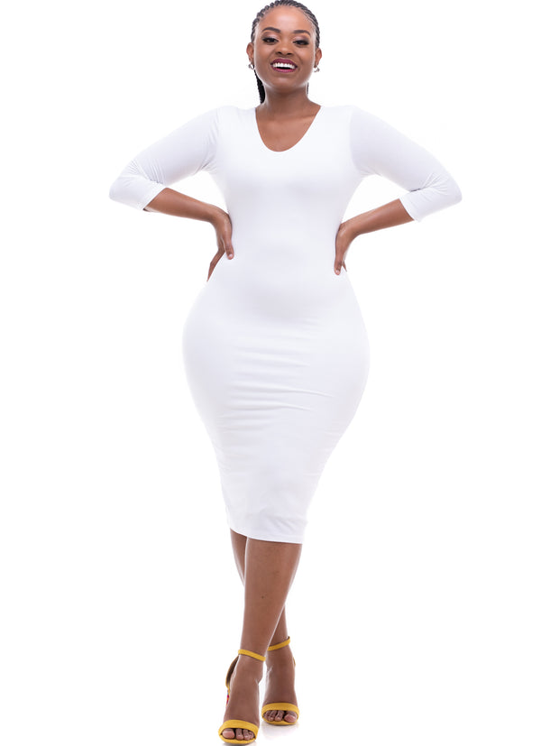 Vivo 3/4 Sleeve Reversible Bodycon - White