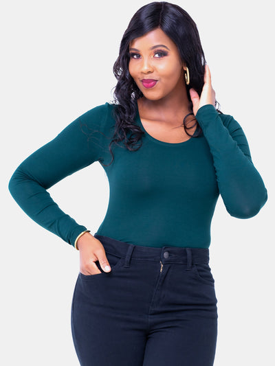 Vivo Basic Long Sleeved Bodysuit - Dark Green - Shop Zetu