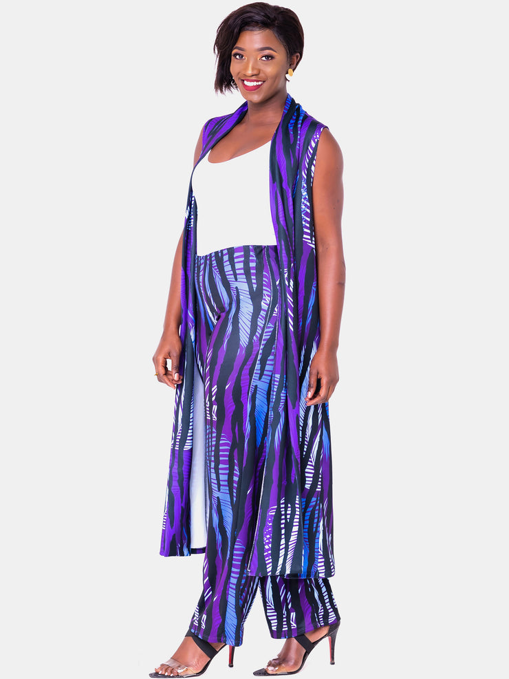 Vivo Tuni Sleeveless Waterfall - Purple Print - Shop Zetu