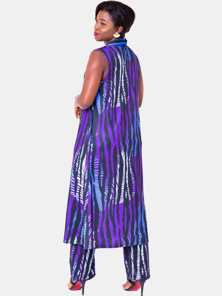 Vivo Tuni Sleeveless Waterfall - Purple Print