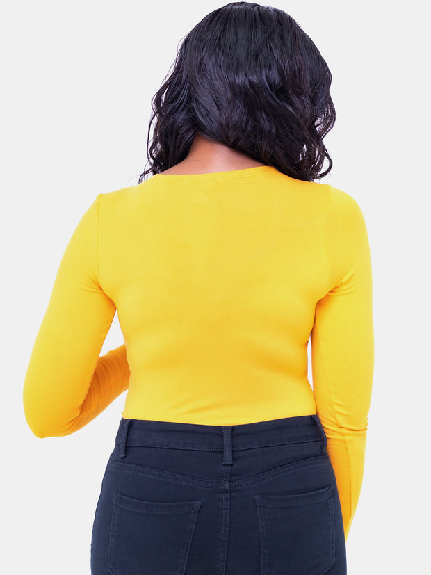 Vivo Basic Long Sleeved Bodysuit - Mustard