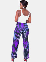 Vivo Tuni Wide Leg Pants - Purple Print