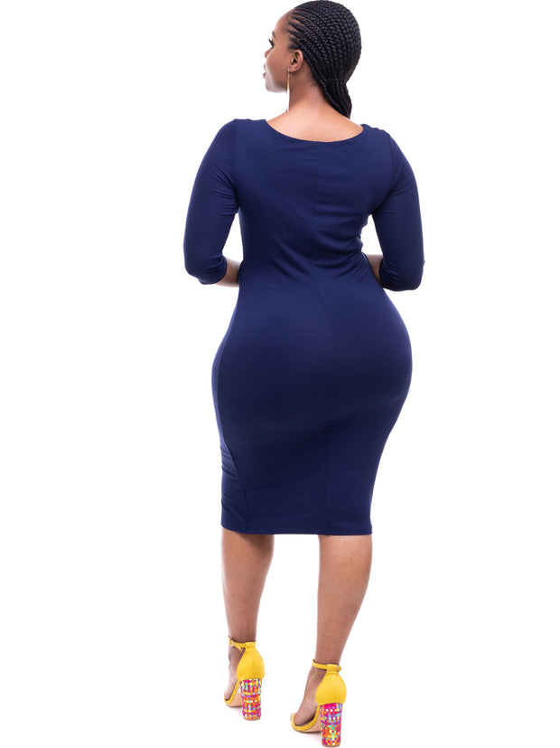 Vivo Side Twist Dress - Navy - Shop Zetu