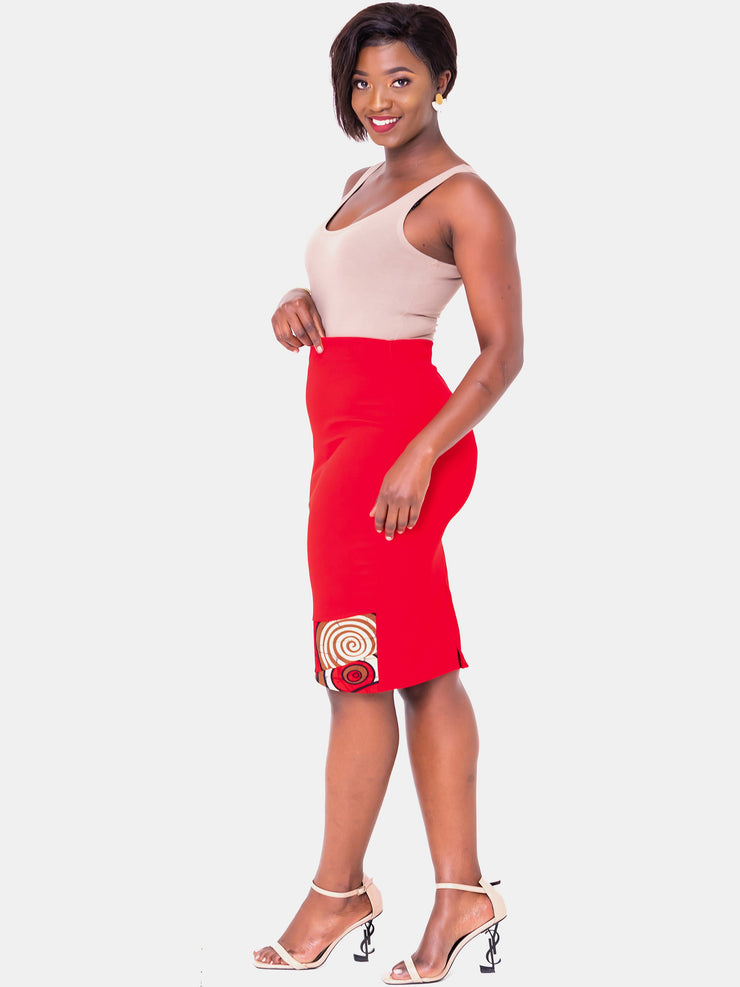 Vivo Swazuri Pencil Skirt - Red - Shop Zetu