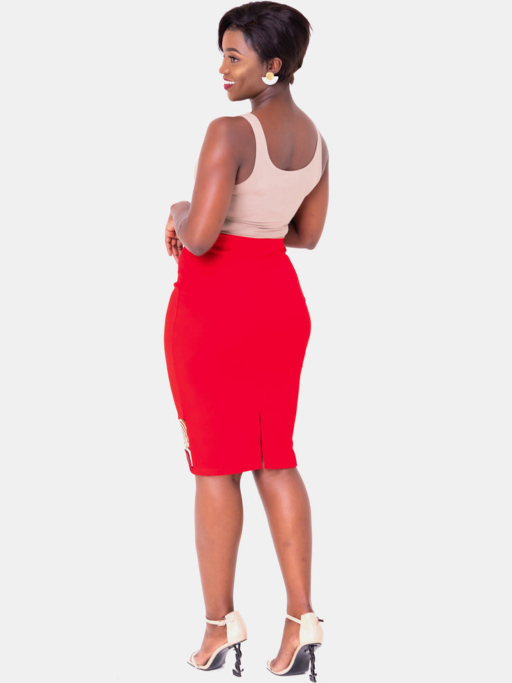 Vivo Swazuri Pencil Skirt - Red