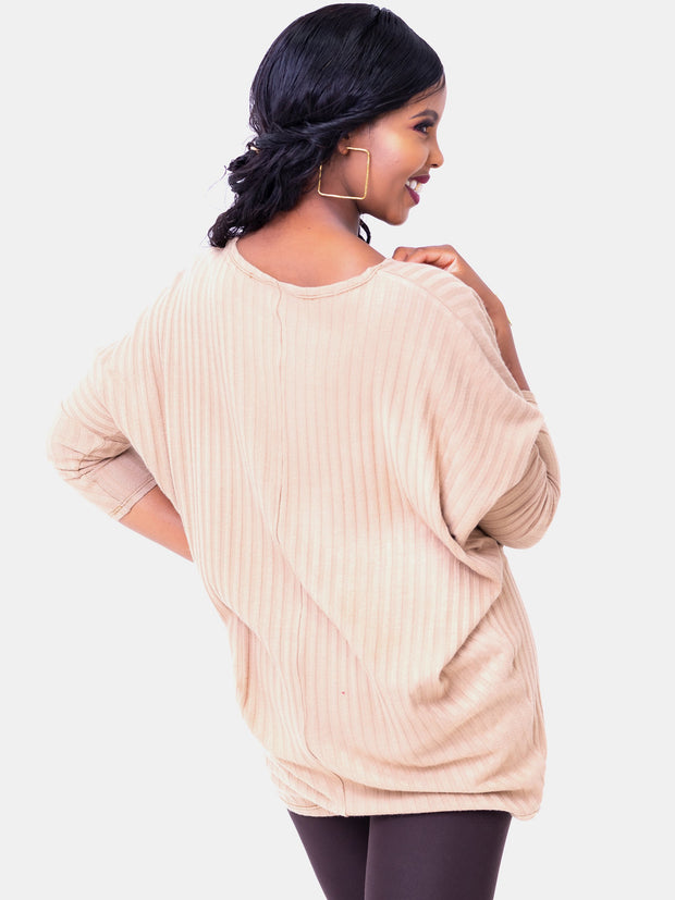 Safari Basic Tunic Dolman Sweater Top - Taupe