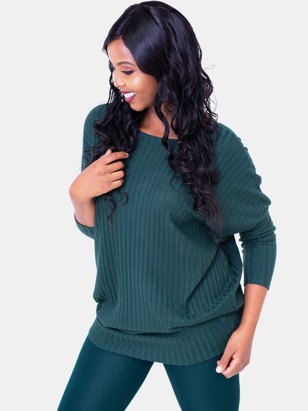 Safari Nala Tunic Dolman Top - Dark Green - Shop Zetu
