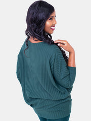 Safari Basic Tunic Dolman Sweater Top - Dark Green