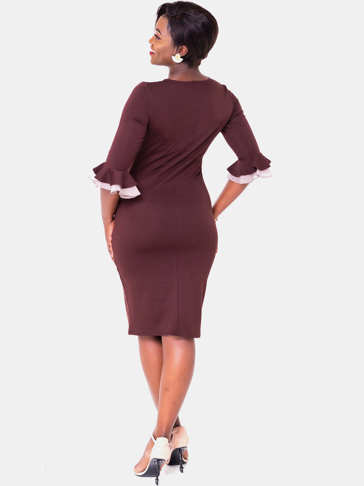 Vivo Zawadi Sheath Dress - Chocolate Brown