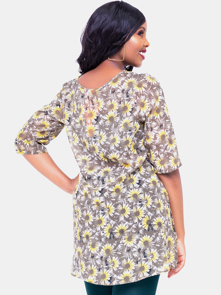 Vivo Basic Ayo Tunic Top - Yellow Print