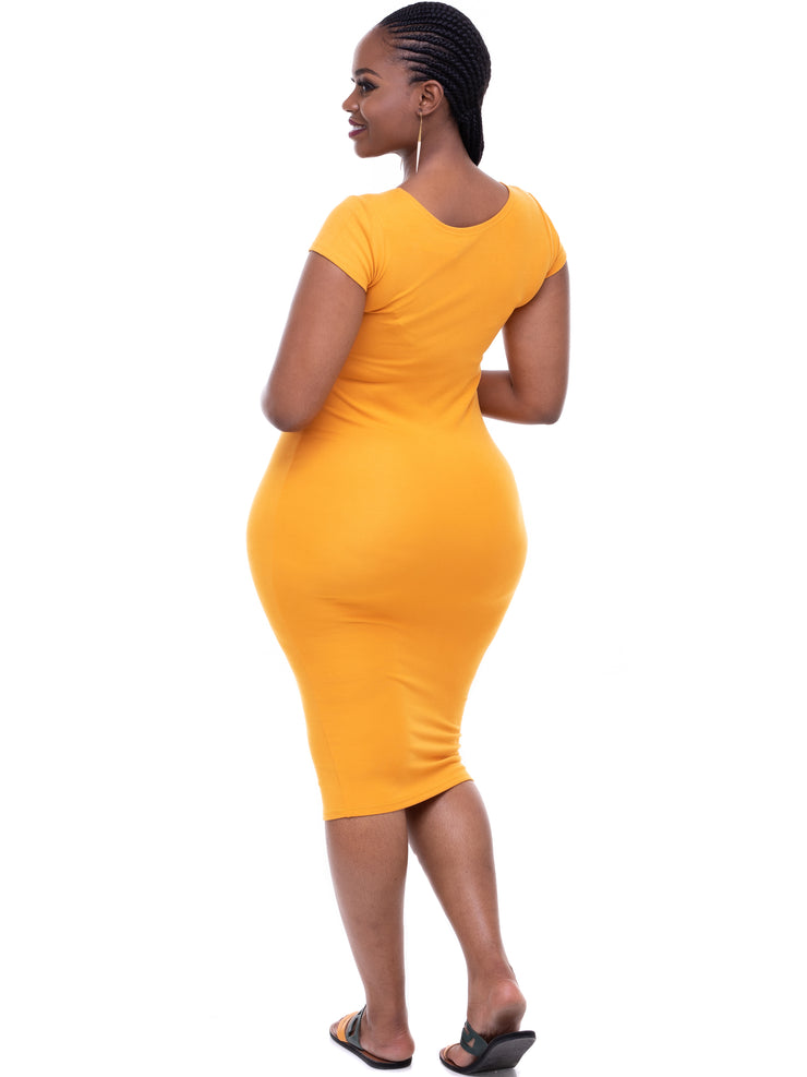 Vivo Basic Cap Sleeved Leila Dress - Mustard