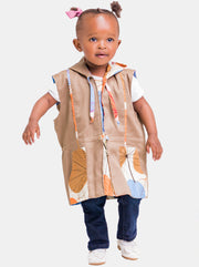 Kipepeo Safari Unisex Reversible Sleeveless Jacket - Brown Print