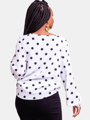Vivo White Polka Dots Basic Ayo Top - White Polka