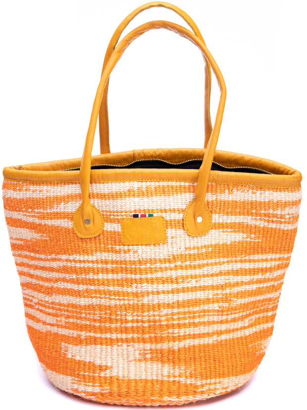 "Crafts with Meaning 14"" Kiondo - Orange / White Print"