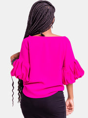 Vivo Boundneck Puff Sleeve Top - Pink