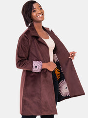 Vivo Corduroy Trench Coat - Brown Print - Shop Zetu