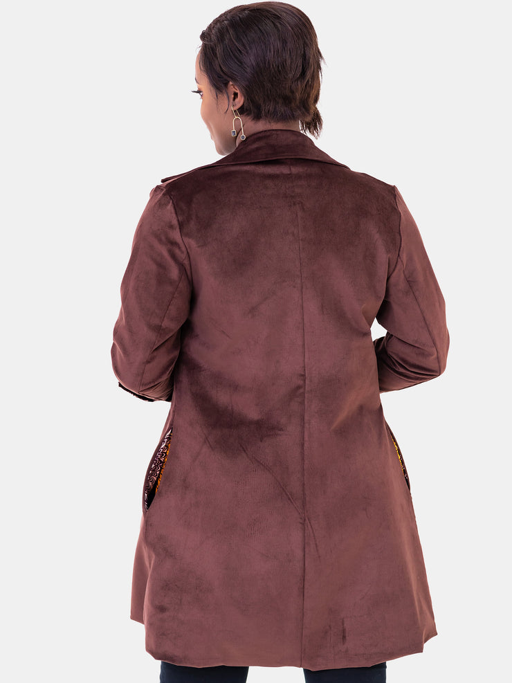 Vivo Corduroy Trench Coat - Brown Print