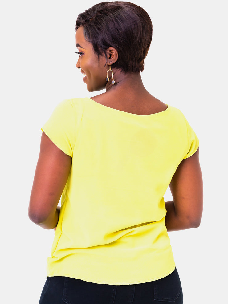 Vivo Basic Cap Sleeve Cory Top - Yellow