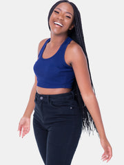 Zetu Ribbed Racerback Crop Top - Navy Blue - Shop Zetu