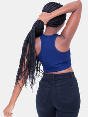 Zetu Ribbed Racerback Crop Top - Navy Blue
