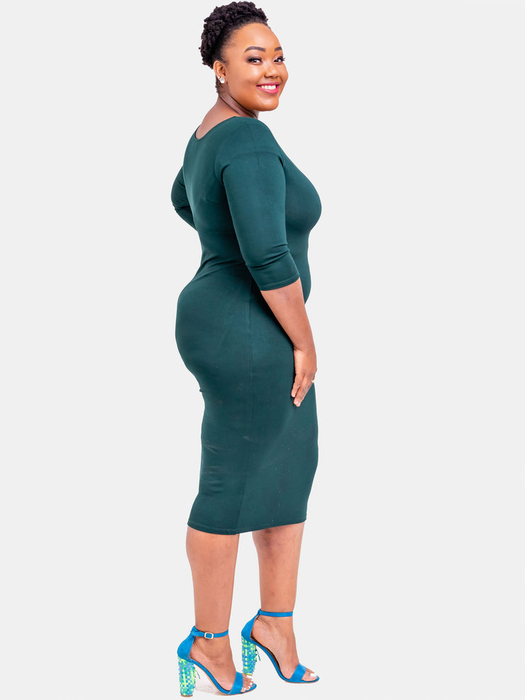Vivo 3/4 Sleeve Leila Bodycon Dress- Dark Green